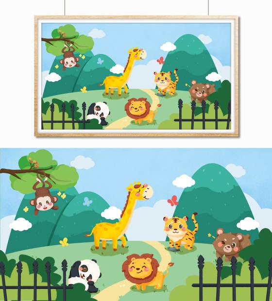 动物园可爱卡通手绘儿童插画