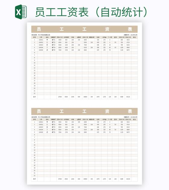 员工工资表(自动统计)