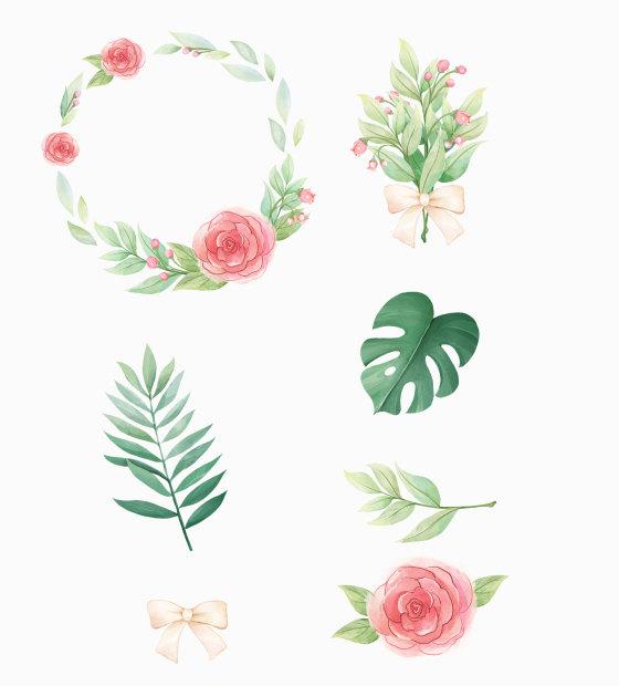 清新花环叶子水彩免扣元素插图