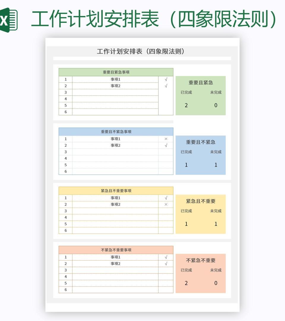 工作计划安排表(四象限法则)