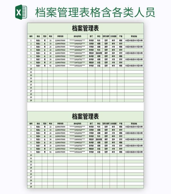 档案管理表格含各类人员