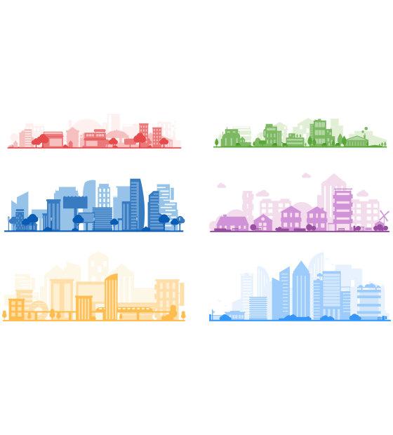 简约城市剪影单色矢量免扣元素