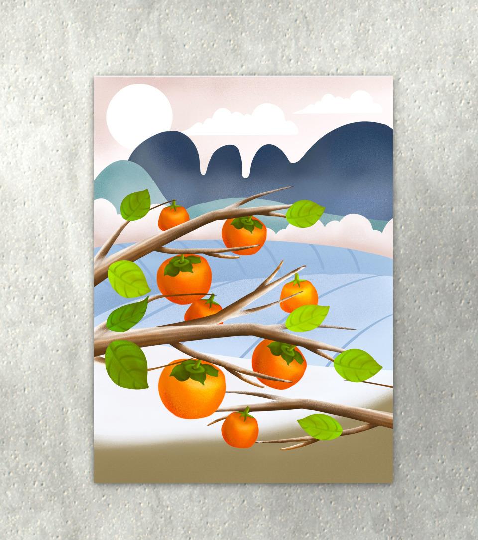 霜降海报元素原创霜降风景柿子