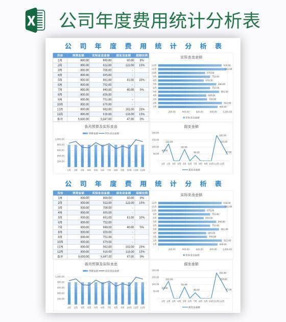 公司年度费用统计分析表