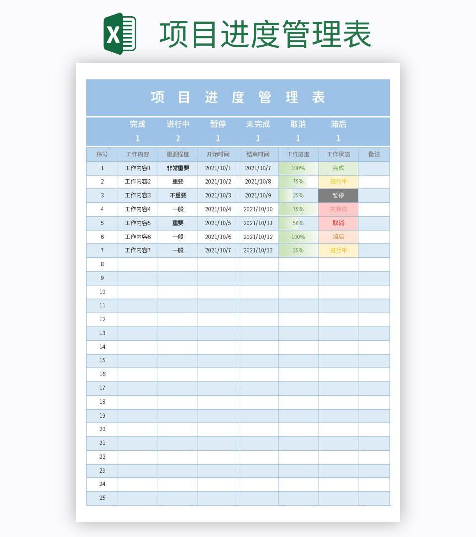 项目进度管理表