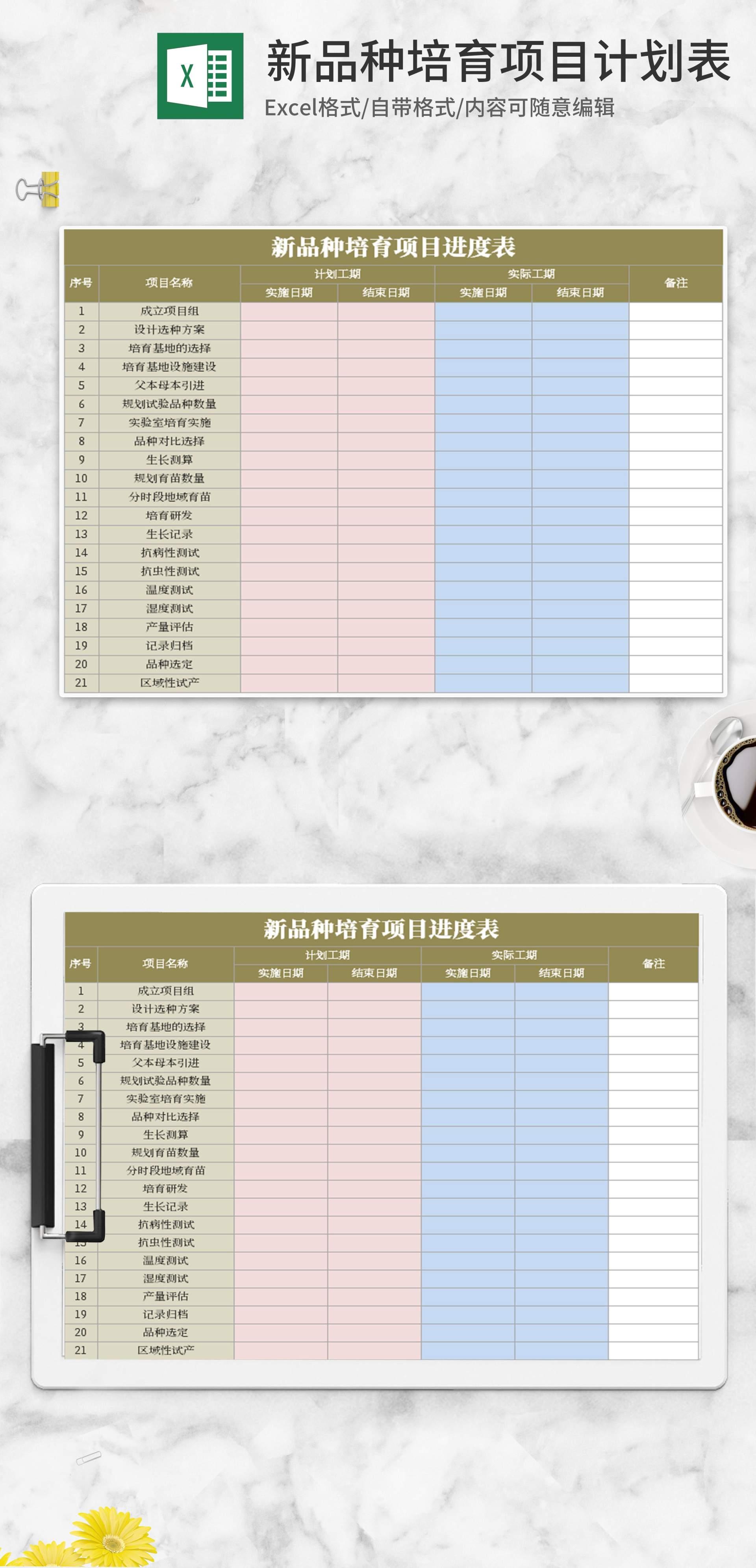 新品种培育项目计划表Excel模板