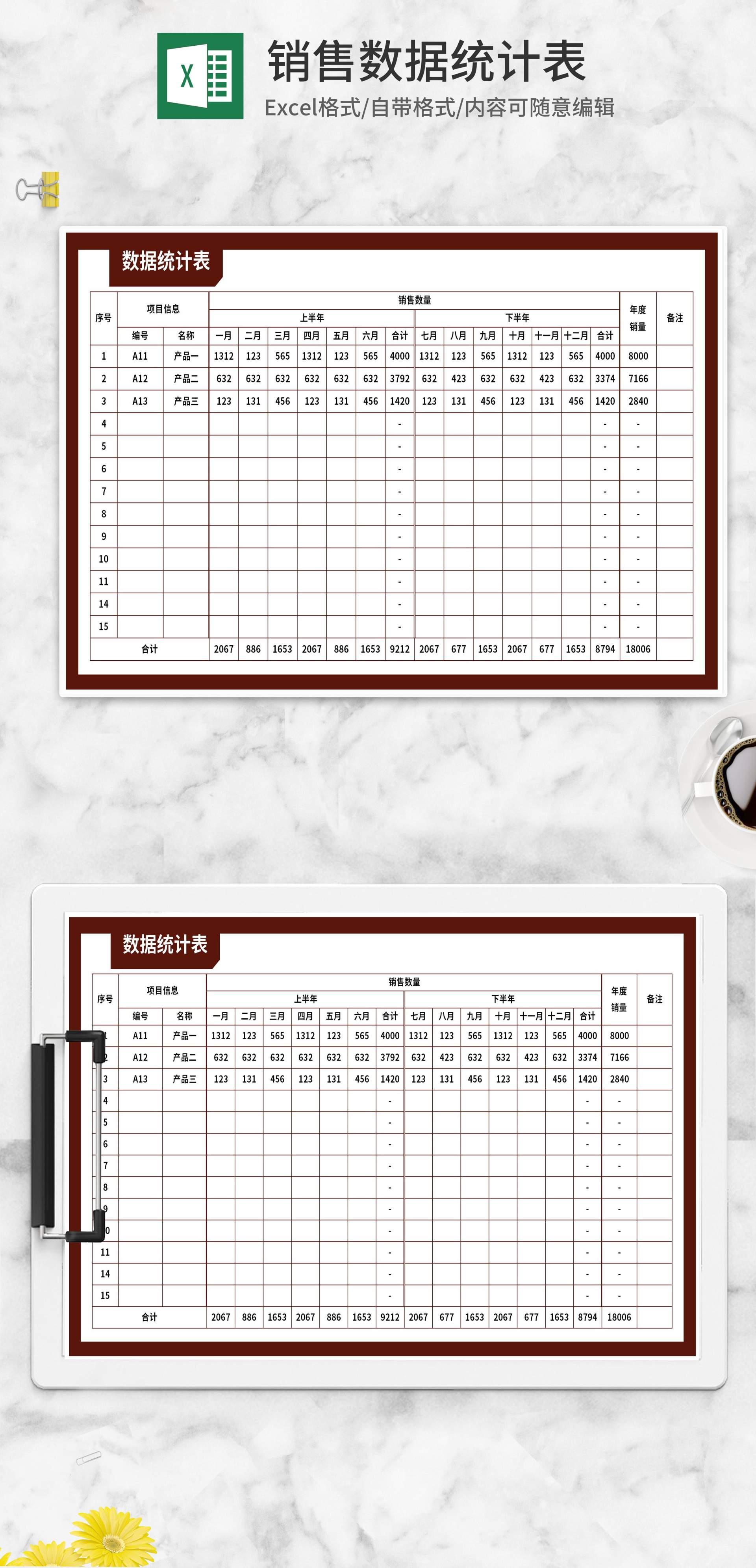 产品销售数据统计表Excel模板