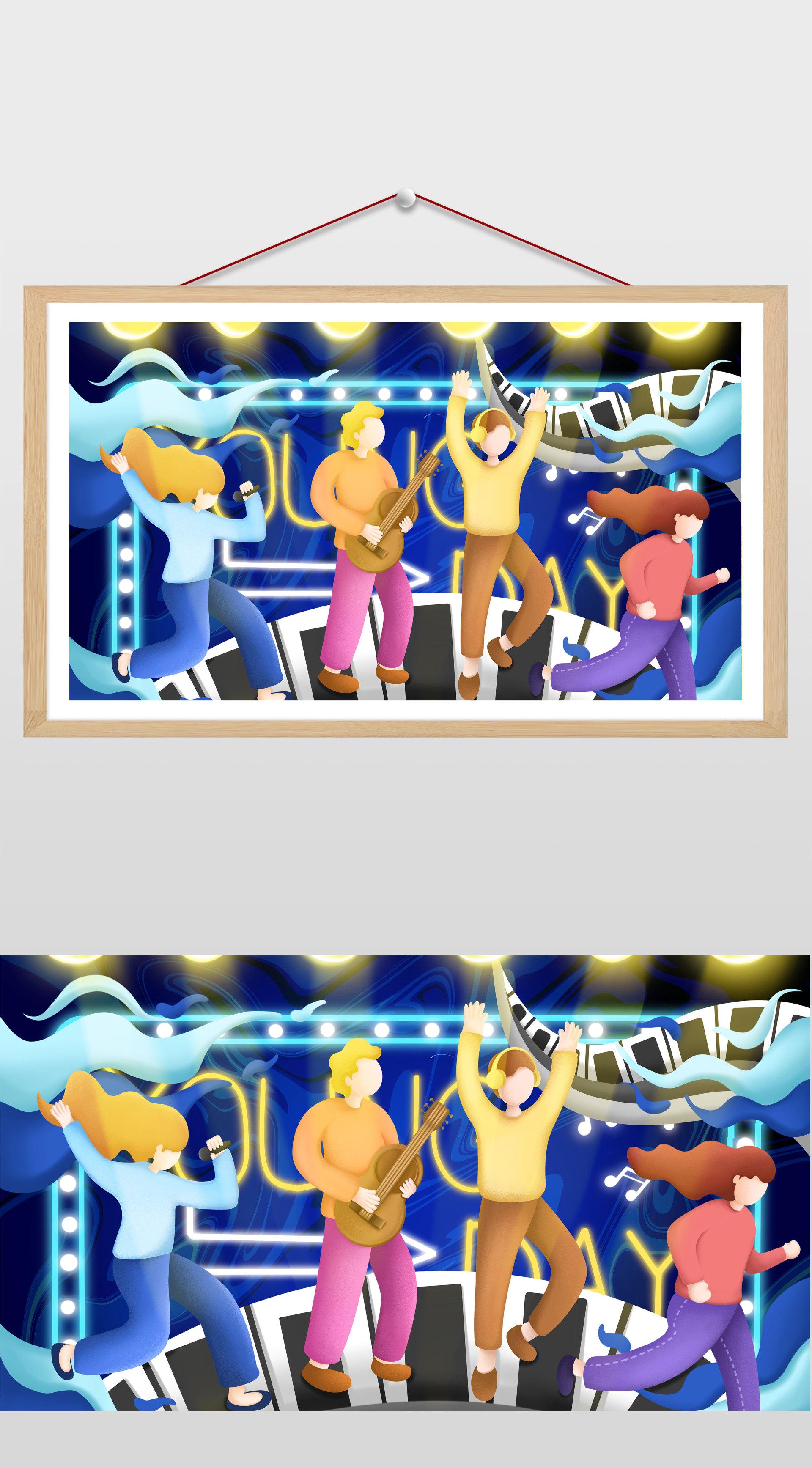 蓝色卡通活力乐队青年节插画