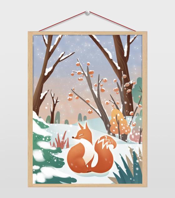 雪地里的狐狸插画
