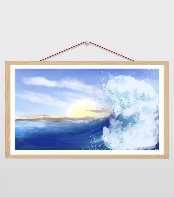 16比9_小清新ppt蓝色景海浪背景