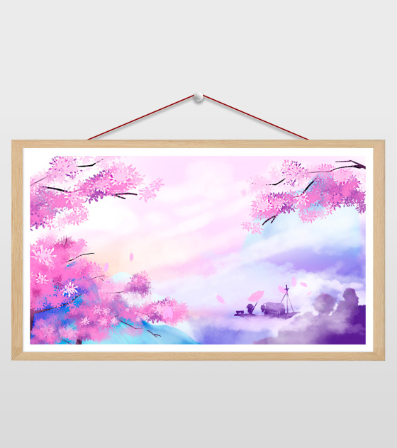 16比9_小清新ppt粉色山水背景
