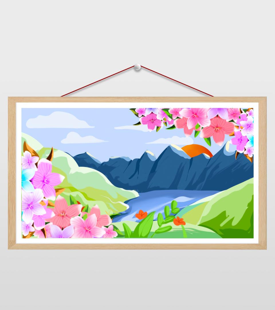 16比9_小清新ppt山水花朵景色背景