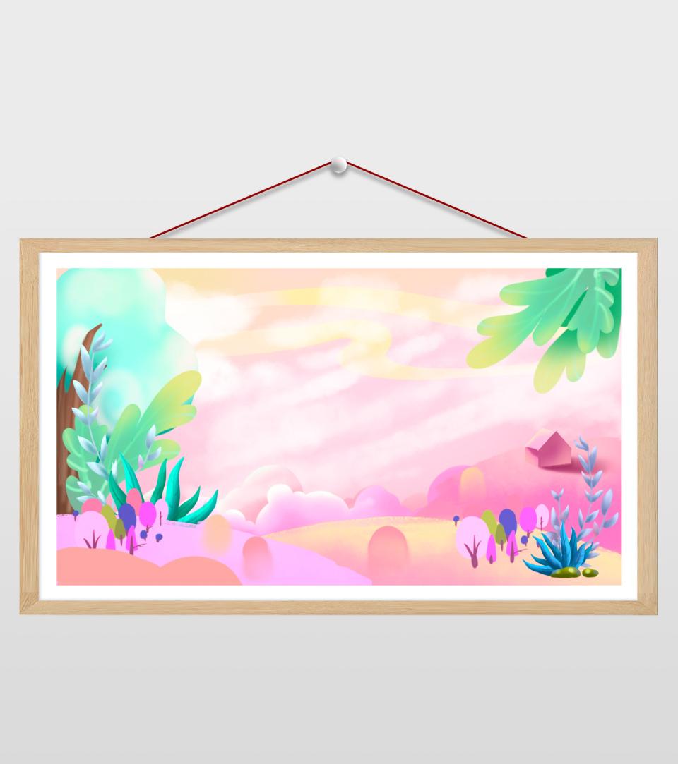 16比9_小清新ppt粉色植物天空背景