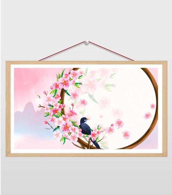 16比9_小清新ppt樱花小鸟圆窗背景