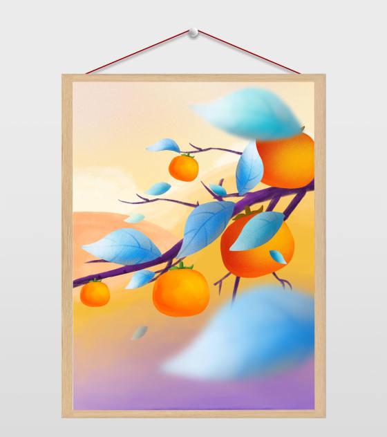 霜降海报元素原创霜降蓝色叶子柿子