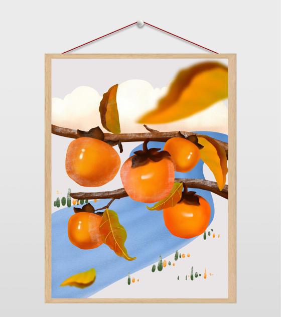 霜降海报元素原创霜降风景柿子树枝