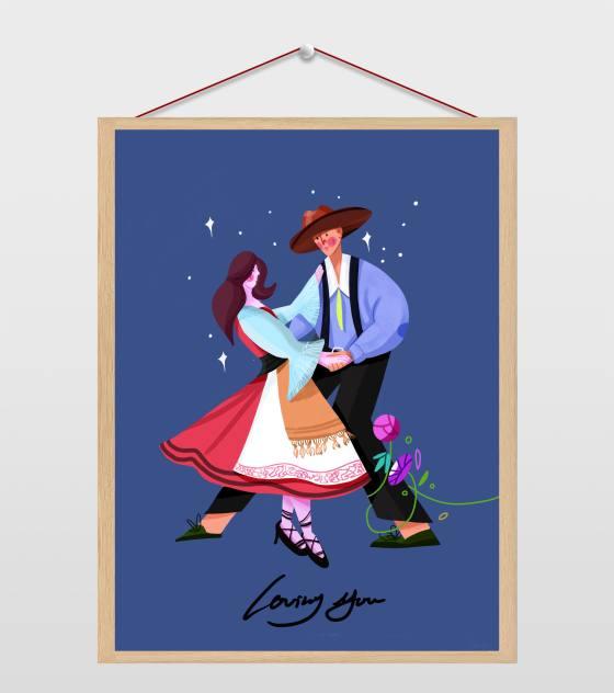 男女跳舞爱情插画