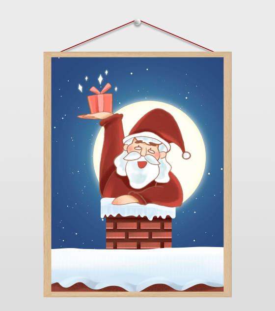 圣诞老人送礼物插画