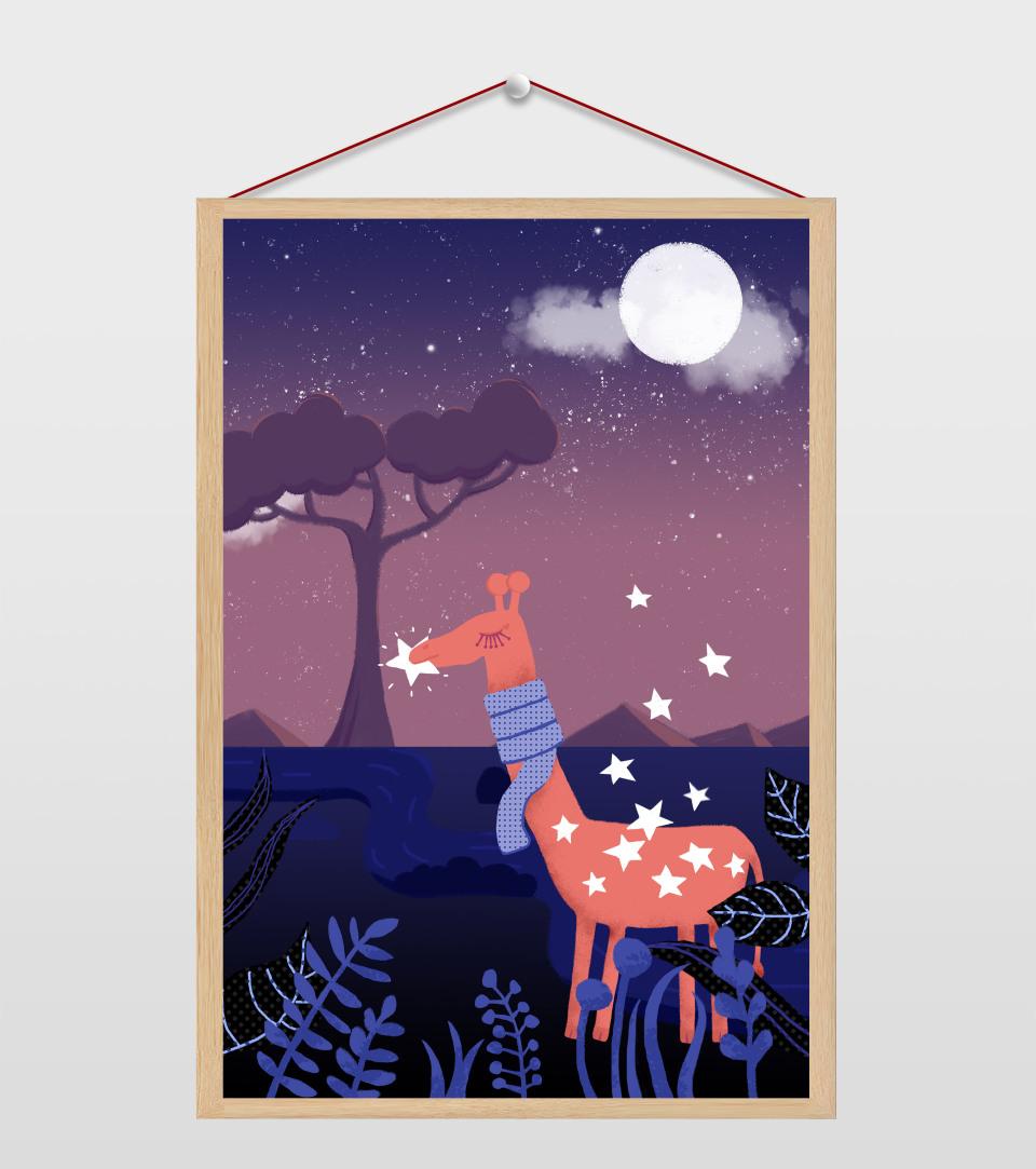 清新夜空下的长颈鹿插画