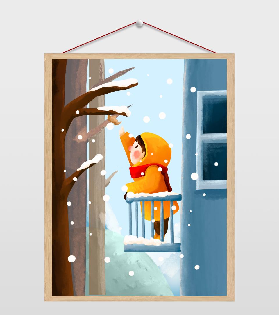下雪摘枯叶的女孩插画