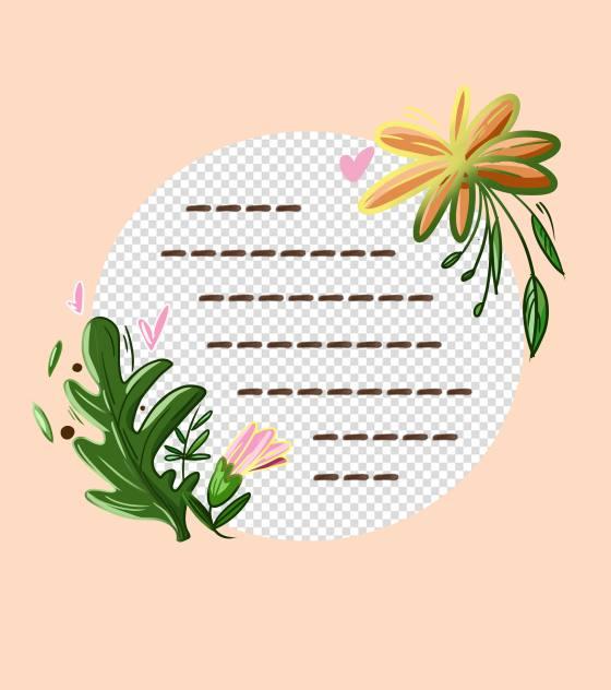圆形花卉边框