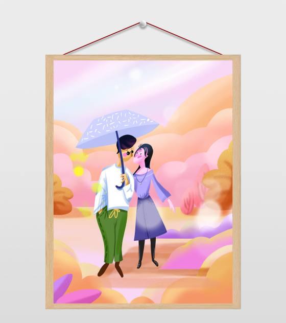 粉红恩爱情侣插画