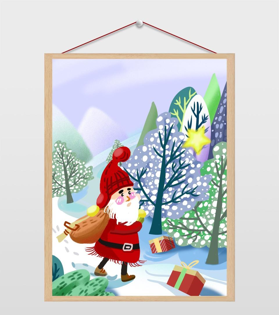 圣诞节老人雪景插画