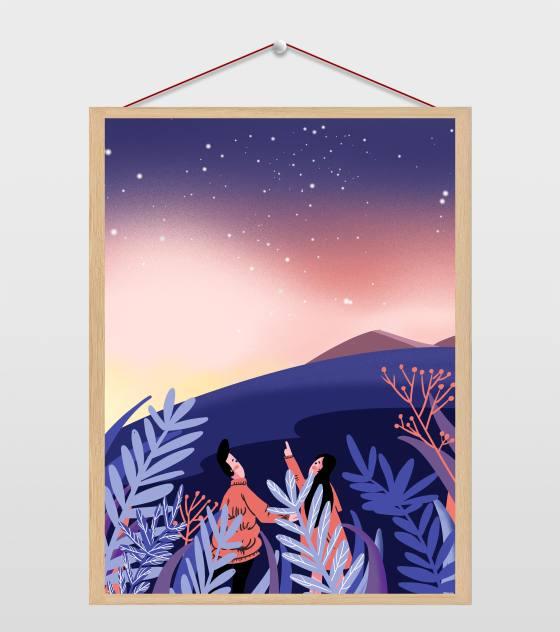 蓝紫色星空插画