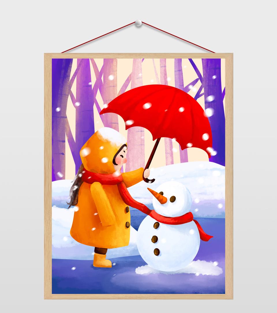 给雪人打伞的女孩插画
