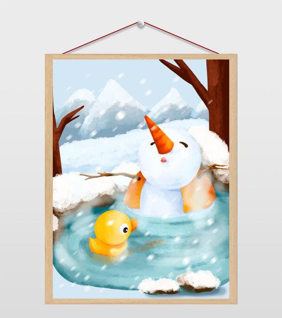 泡温泉的雪人插画