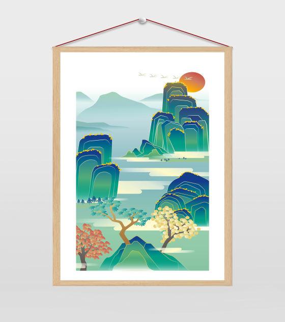 江山如画中国风插画