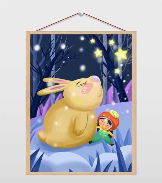 冬日树林里的兔子与小女孩