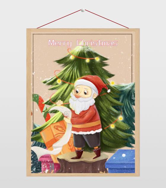 圣诞老人的礼物清单插画