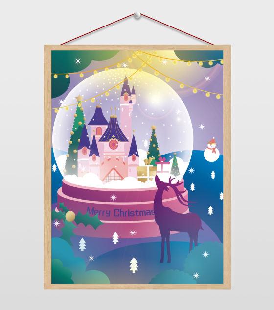 圣诞节水晶球插画