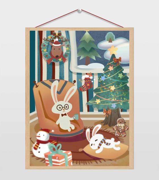复古风圣诞节兔子的家插画