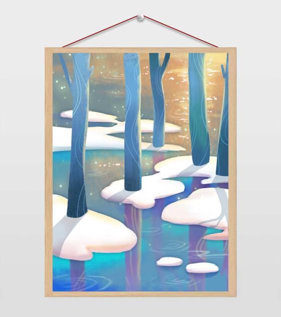 大雪小寒森林雪树插画