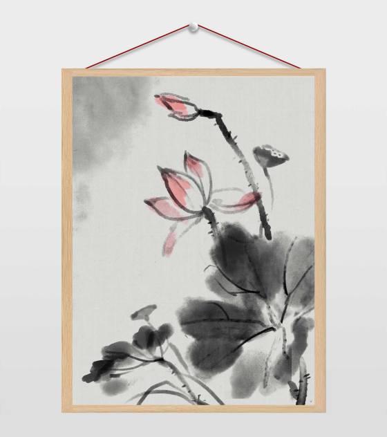 中国风水墨山水插画
