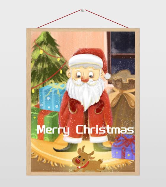 手绘温馨圣诞节插画