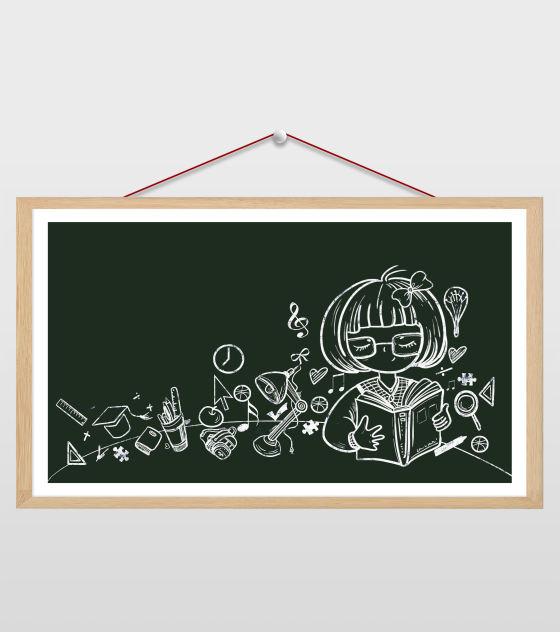 读书的女孩黑板画插画