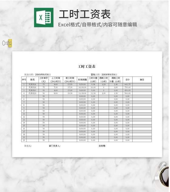 工时工资表Excel模板