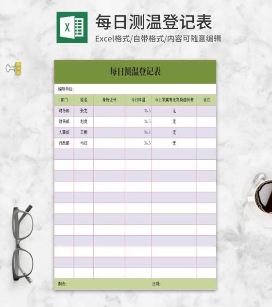 小清新绿色每日测温登记表Excel模板