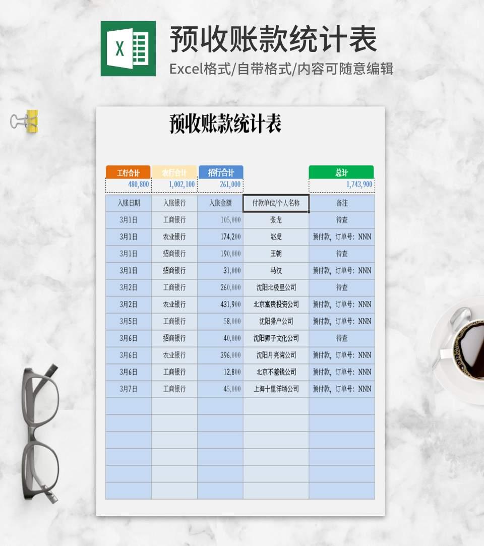小清新预收账款Excel统计模板