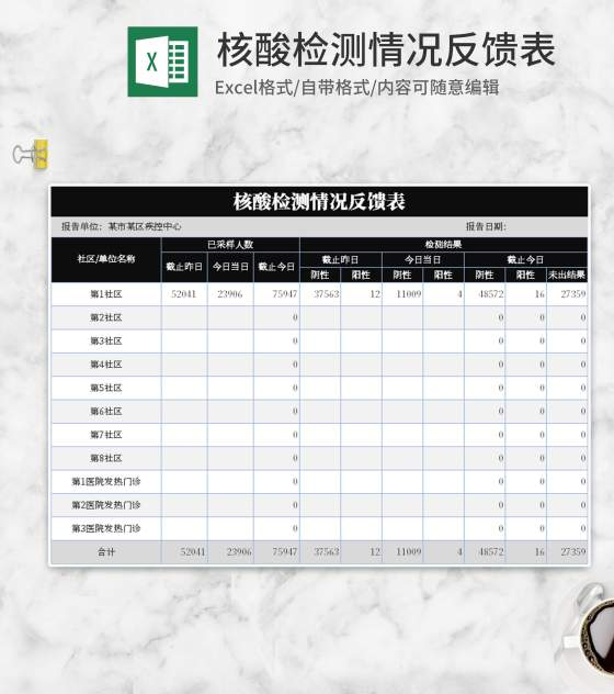 简约黑色核酸检测情况反馈表Excel模板