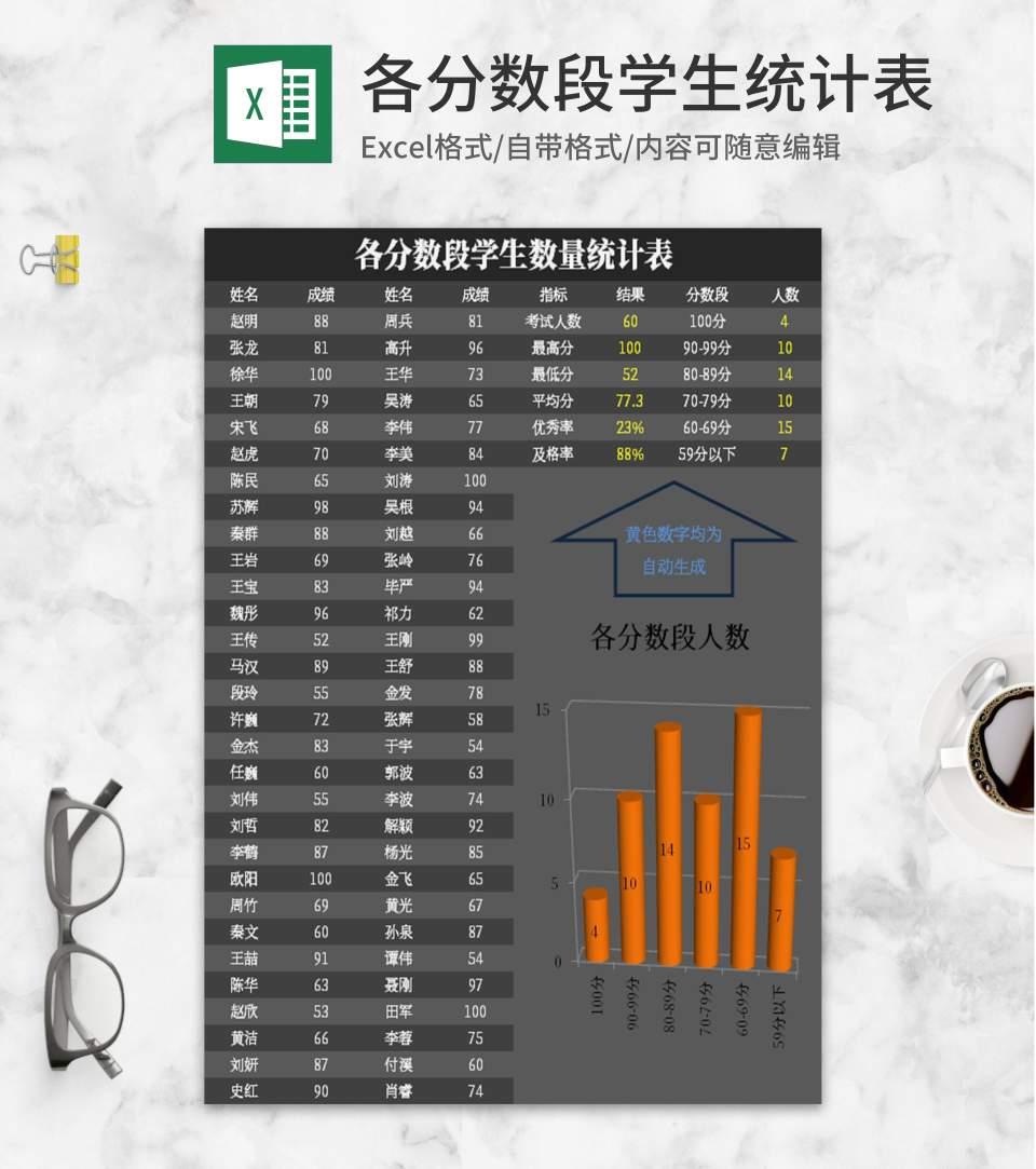 简约灰色各分数段学生统计表Excel模板
