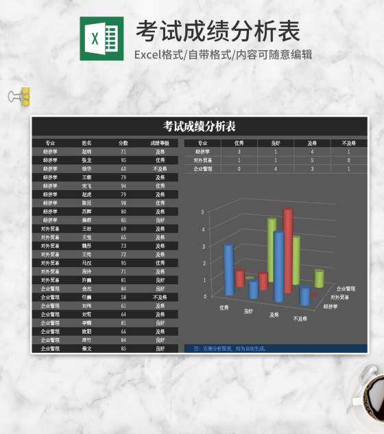 简约灰色考试成绩分析表Excel模板