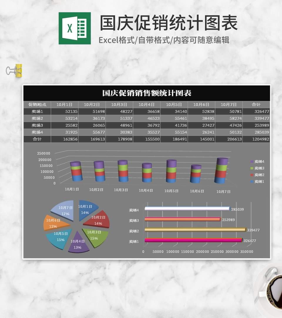 简约黑灰国庆促销统计图表Excel模板