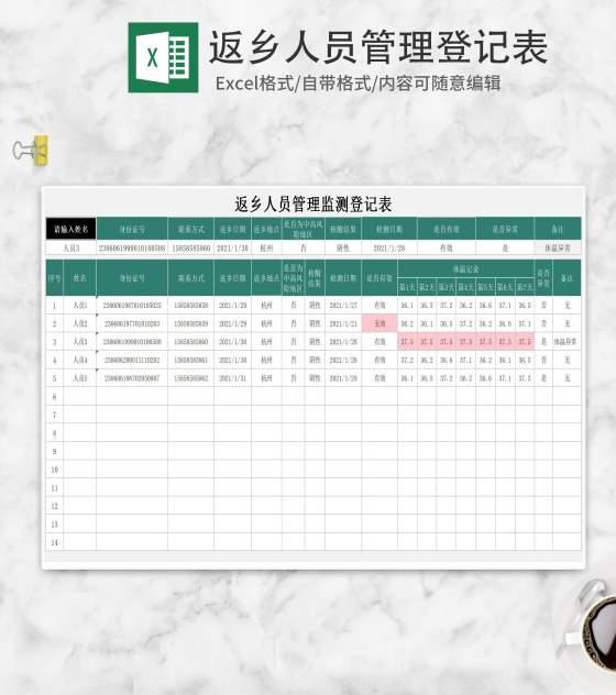 小清新绿色返乡人员管理登记表Excel模板