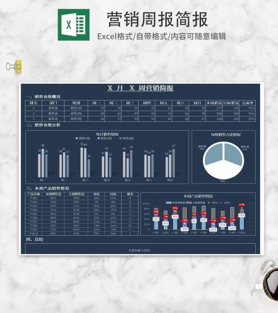 小清新蓝色营销周报简报Excel模板