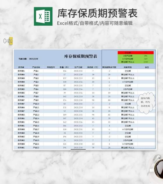 小清新蓝色库存保质期预警Excel模板