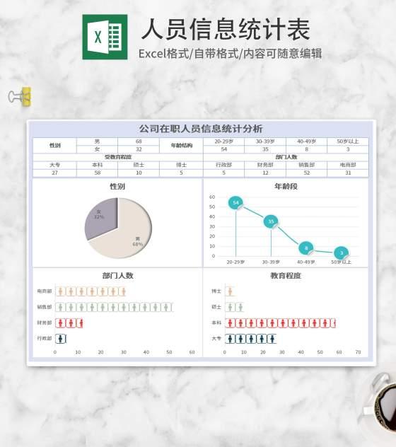 小清新蓝色人员信息统计表Excel模板